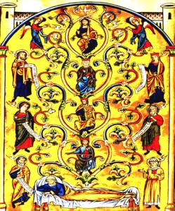 arbre de Jessé enluminure du psautier d'Ingeburge de Danemark- XIIIeme siècle.